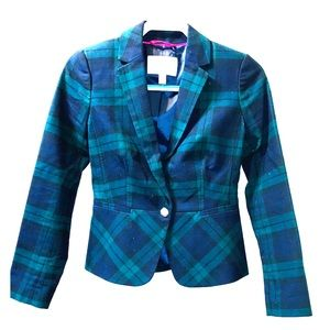 Banana Republic preppy plaid blazer navy emerald